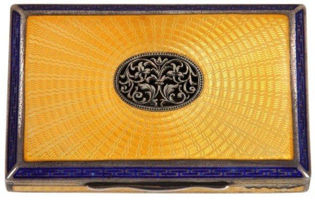 12: French Silver & Enamel Cigarette Case