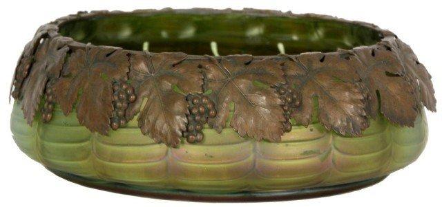 19: Attr Loetz Green Artglass Bowl