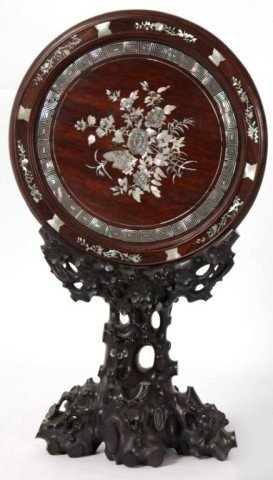 23: Mother Of Pearl Inlaid Table Mirror