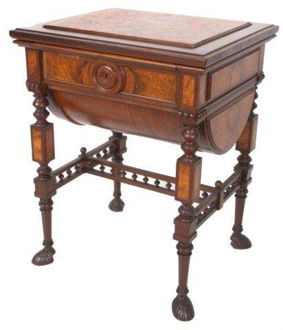 24: Burled Walnut Renaissance Sewing Desk