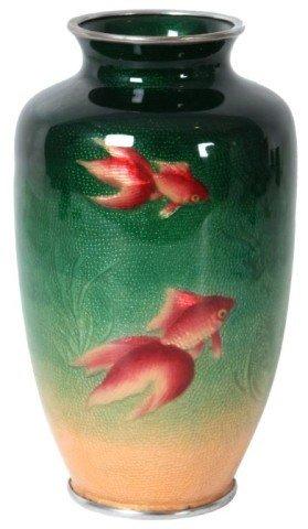 Ginbari Cloisonne Goldfish Vase Attr: Ando