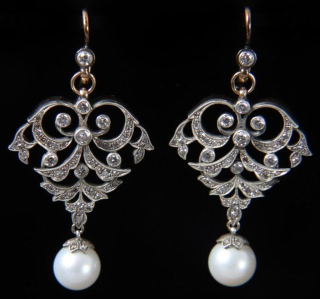 76: 14K Russian Gold, Diamond & Pearl Earrings