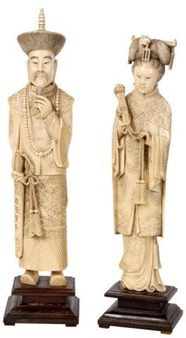 81: Pr. Chinese Carved Ivory Figures