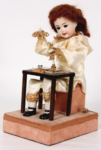 125: French Porcelain Musical Doll Automaton