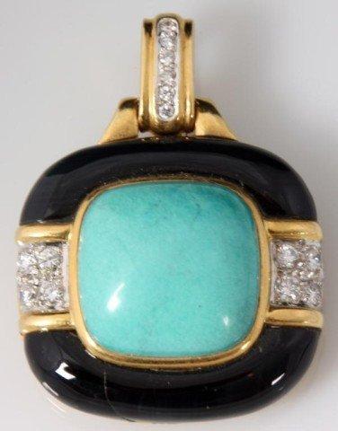 149: 18K Gold, Diamond, Turquoise & Onyx Pendant