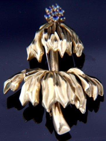 165: Tiffany 18K Gold & Sapphire Pin
