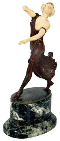 167: A. Ermler Ivory & Bronze Figural Dancer
