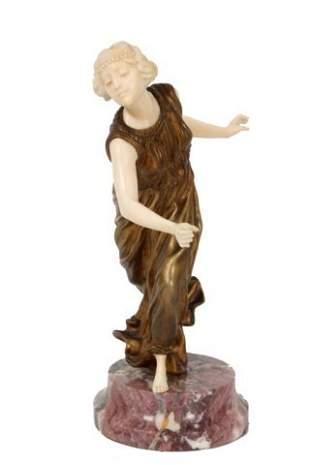 200: A. Gory Bronze & Ivory Figural Dancer