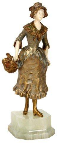 240: G. Omerth Bronze & Ivory Woman