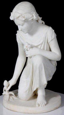 143: Joseph Mozier Marble Sculpture - Springtime