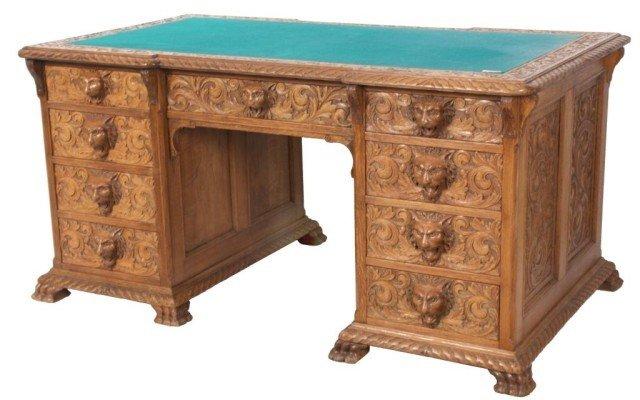 152: Heavily Carved Oak Executive Desk