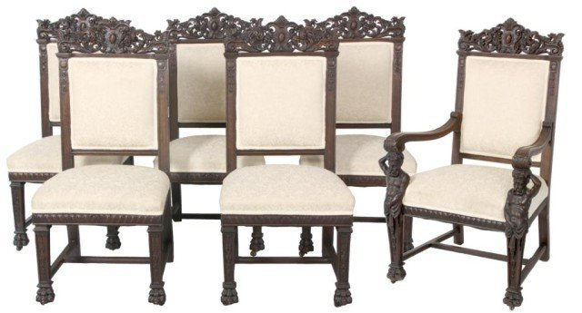 154: 6 Oak Horner Dining Room Chairs