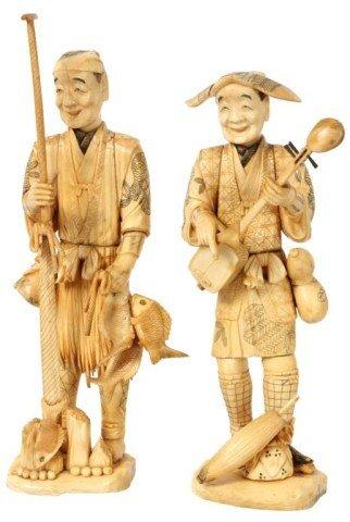 5: Pr. Carved Oriental Ivory Figures