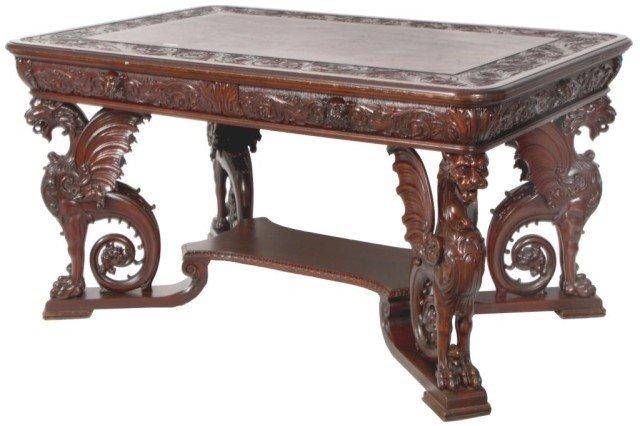 156: Mahogany Horner Griffin Carved Partners Desk