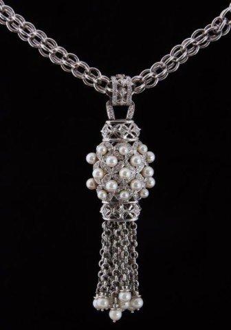 157: Ladies 18K Diamond & Pearl Necklace