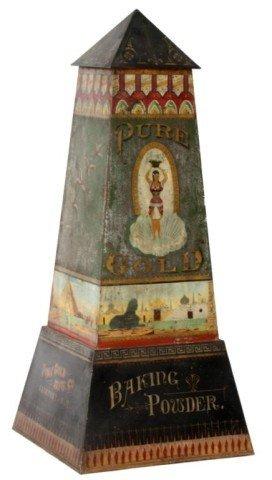 Baking Powder Advertising Tin Obelisk