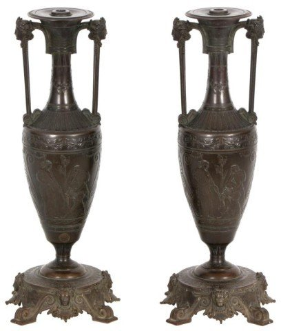 139: H. Cahieux - Barbedienne Bronze Urns