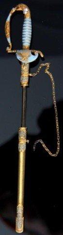 140: American Gold Sword Pin W/ Enamel & Diamond