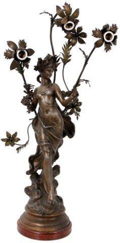 160: Aug. Moreau Figural Nouveau Lamp