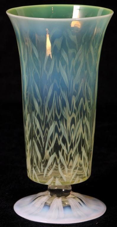 22: Tiffany Favrile Pastel Feathered Vase