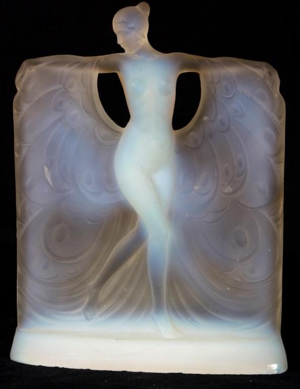 88: Lalique Style Opalescent Glass Figure