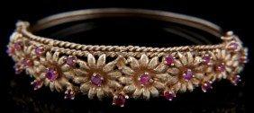 14K Gold Floral Bracelet W/ Pink Tourmalines