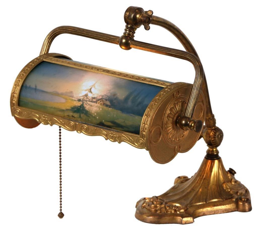 100: Pittsburgh Reverse Painted Desk Lamp