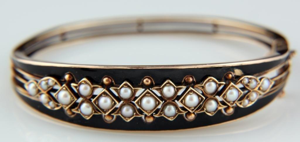 102: Victorian Bangle Bracelet W/ Enamel & Pearls
