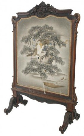 Carved Rosewood Firescreen