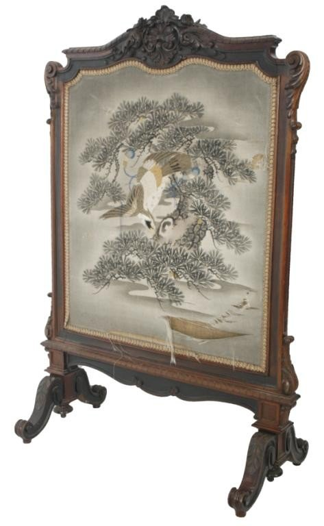 103: Carved Rosewood Firescreen