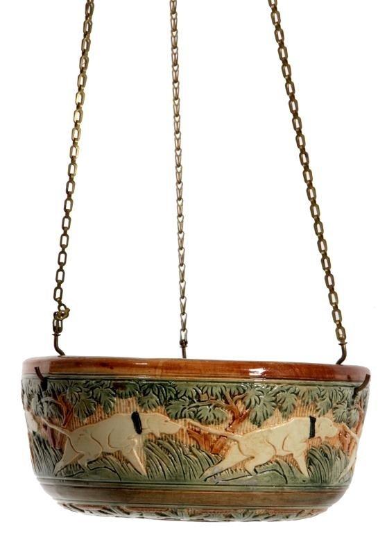 133: Weller Knifewood Hanging Basket, Glazed