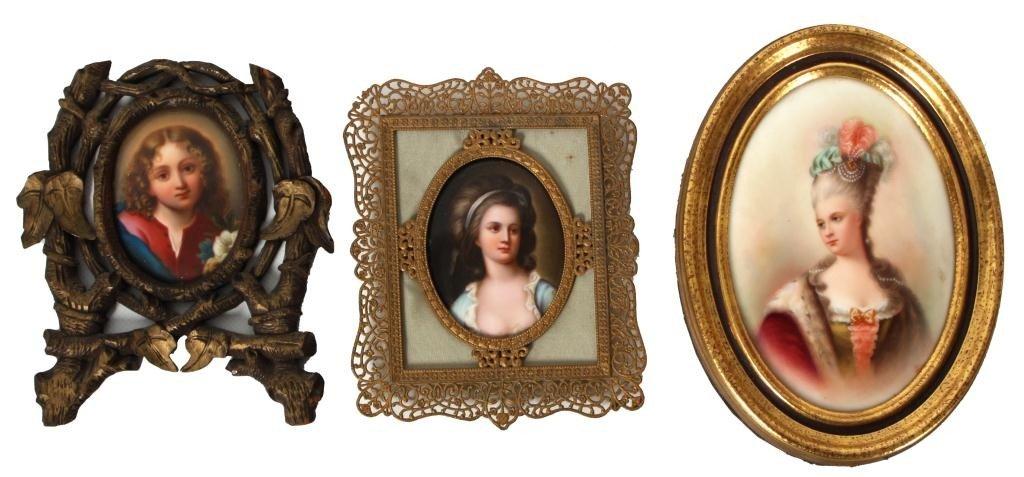 135: 3 Oval Porcelain Portrait Plaques