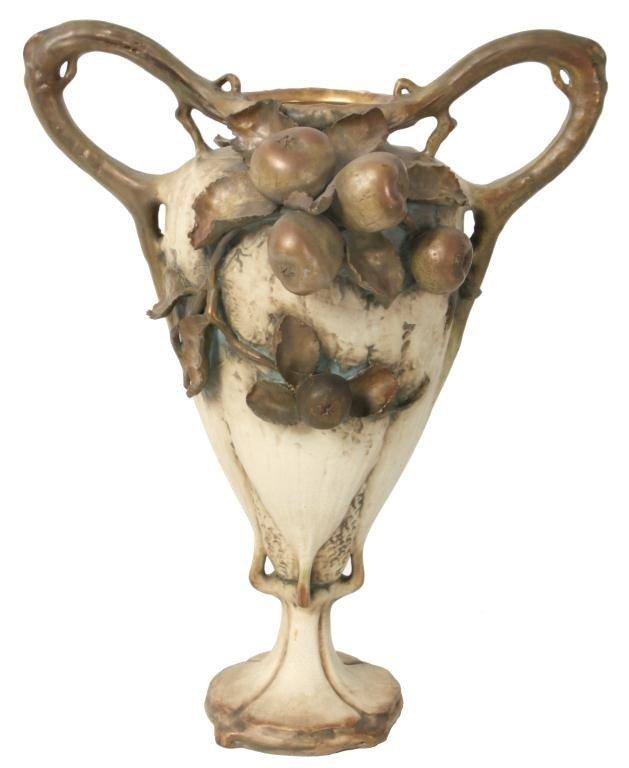 140: Amphora Handled Urn W/ Apples