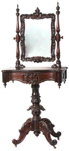 Carved Rosewood Vanity W/ Mirror