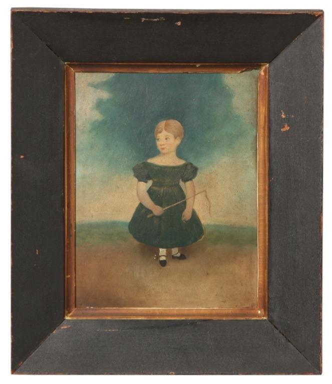 126: Primitive Folk Painting of Girl
