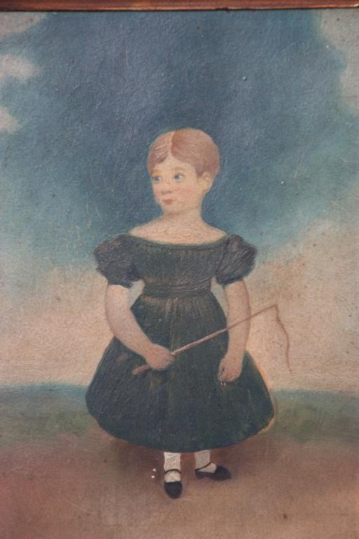 126: Primitive Folk Painting of Girl - 2