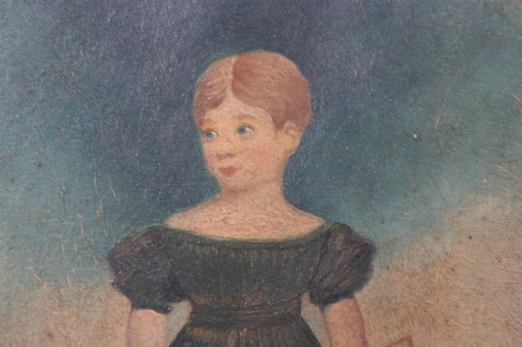 126: Primitive Folk Painting of Girl - 4