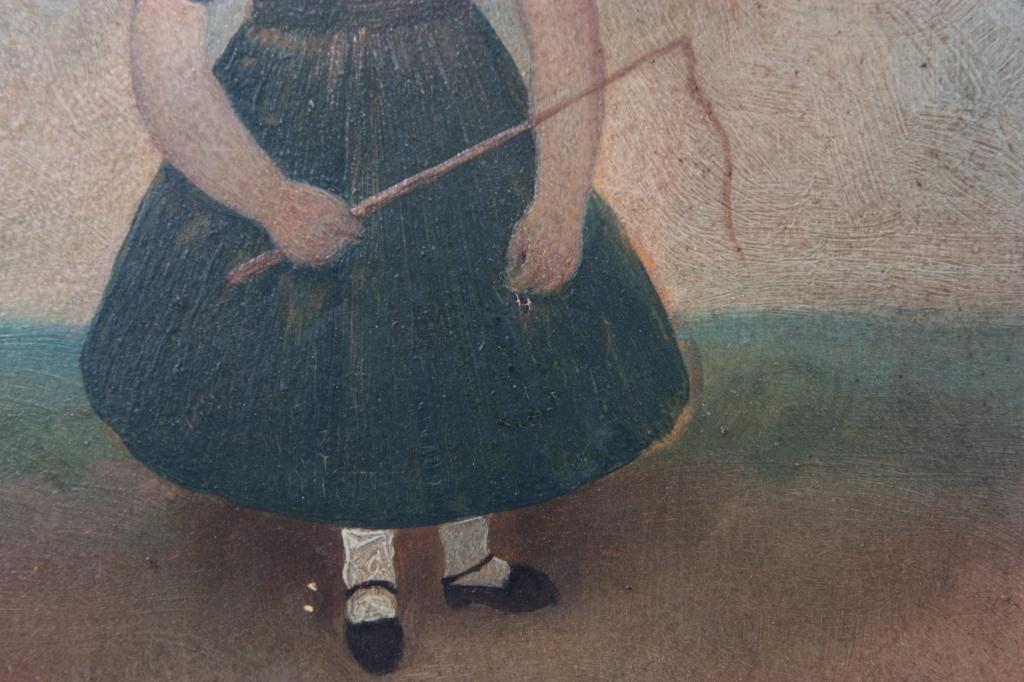 126: Primitive Folk Painting of Girl - 5