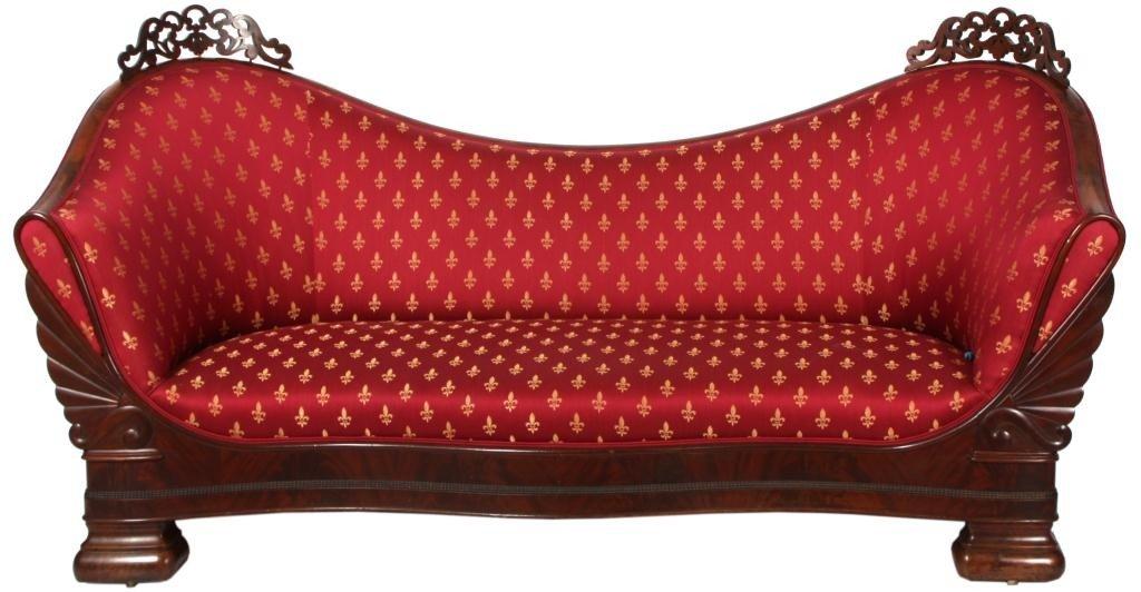 134: Attr: Meeks Carved Mahogany Empire Sofa
