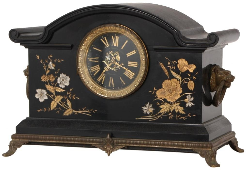 9: Incised Black Marble Mantle Clock