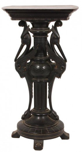 Ebonized Carved Renaissance Pedestal
