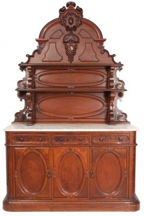 Carved Walnut Marble Top Sideboard