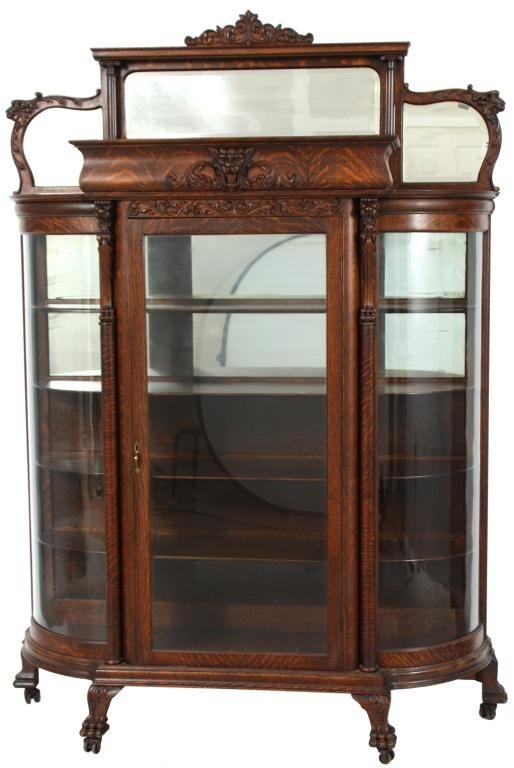 141: Carved Oak Griffin China Cabinet