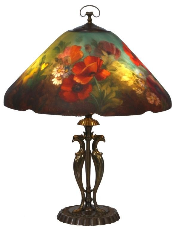 81: Handel Floral Poppy Table Lamp