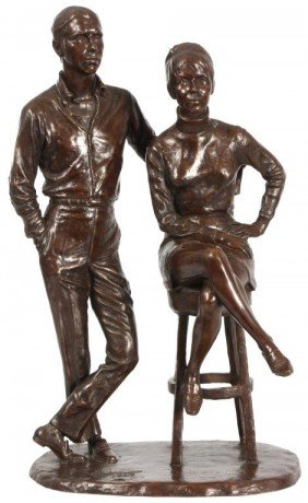 Double Figure Bronze Signed Cipriano
