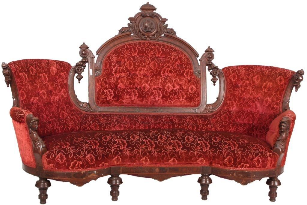 144: Attr. Jeliff Walnut Triple Back Sofa