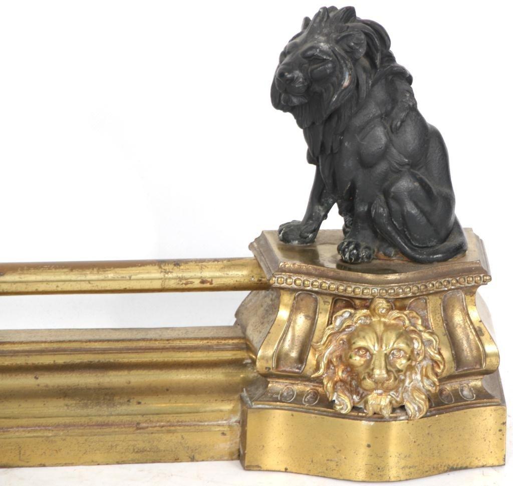 372: Figural Lion Fireplace Fender - 2