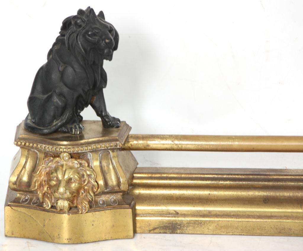 372: Figural Lion Fireplace Fender - 3