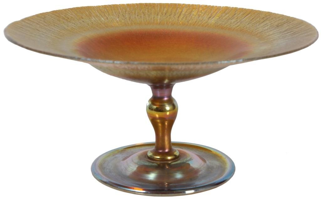19: Tiffany Favrile Art Glass Compote