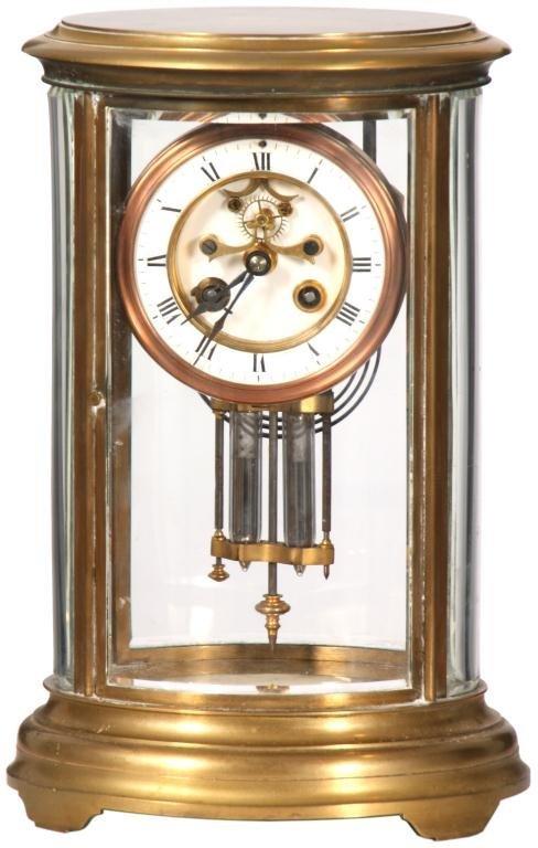 218: Oval Brass French Crystal Regulator